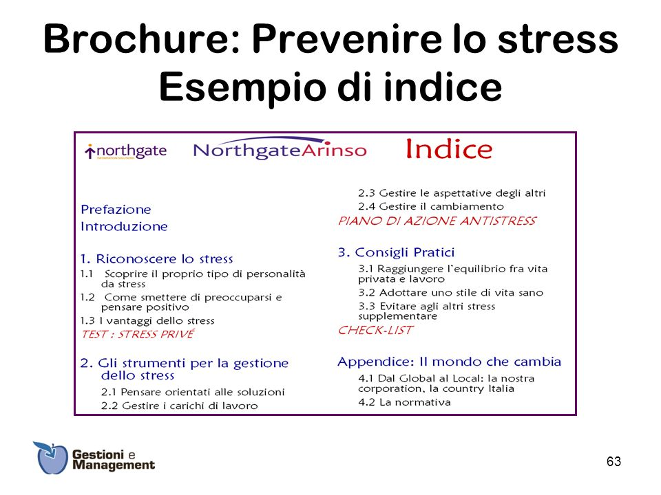 Brochure: Prevenire lo stress Esempio di indice