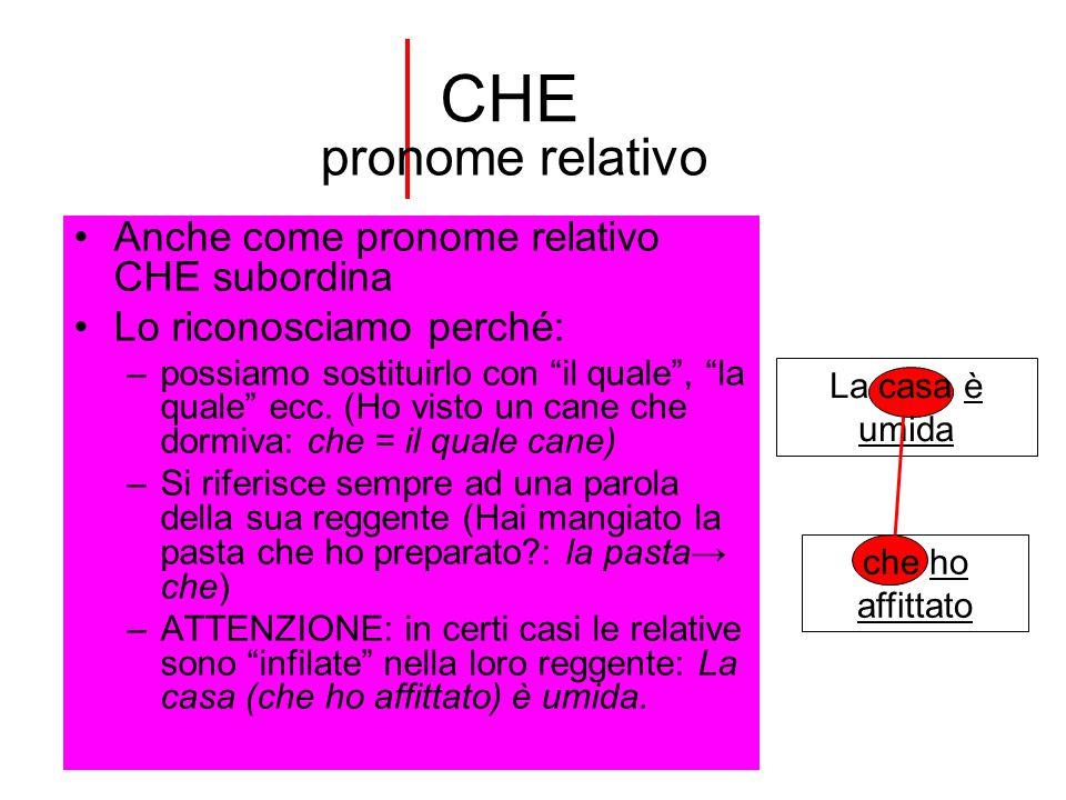 CHE pronome relativo Anche come pronome relativo CHE subordina