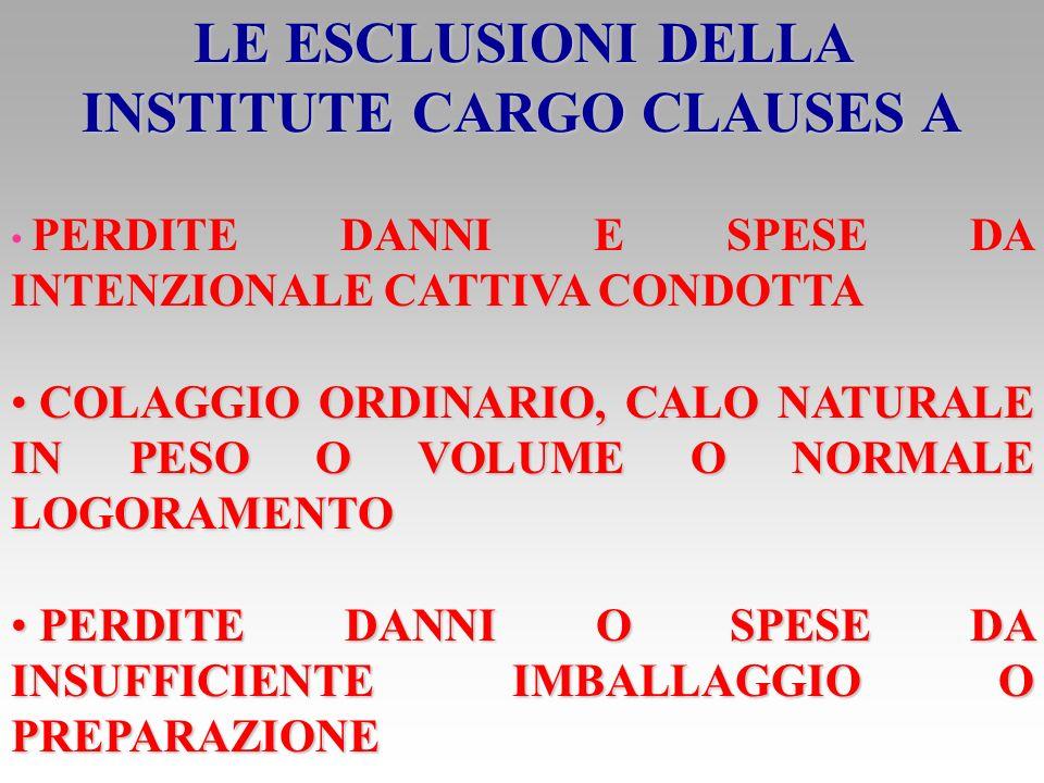 LE ESCLUSIONI DELLA INSTITUTE CARGO CLAUSES A