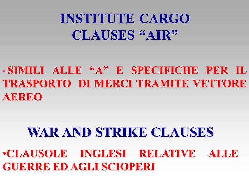 INSTITUTE CARGO CLAUSES AIR