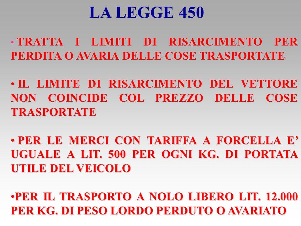 LA LEGGE 450 TRATTA I LIMITI DI RISARCIMENTO PER PERDITA O AVARIA DELLE COSE TRASPORTATE.