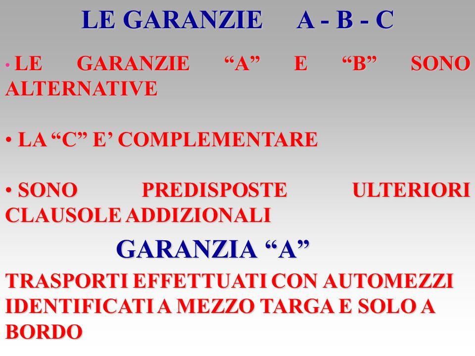 LE GARANZIE A - B - C GARANZIA A LA C E' COMPLEMENTARE