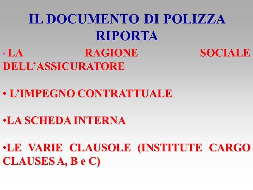 IL DOCUMENTO DI POLIZZA RIPORTA
