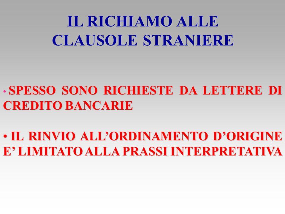 IL RICHIAMO ALLE CLAUSOLE STRANIERE