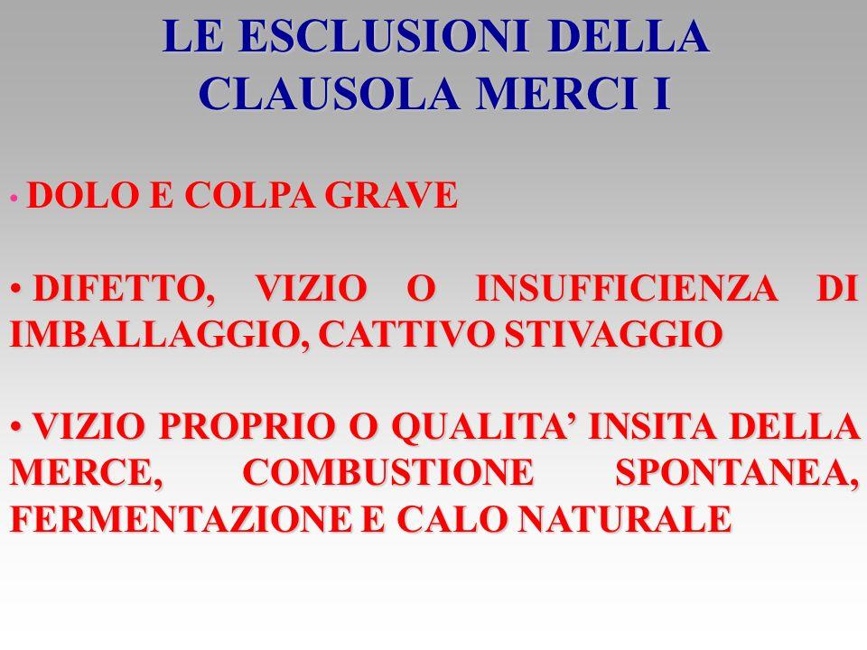 LE ESCLUSIONI DELLA CLAUSOLA MERCI I