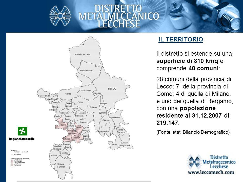 IL TERRITORIO Il distretto si estende su una superficie di 310 kmq e comprende 40 comuni: