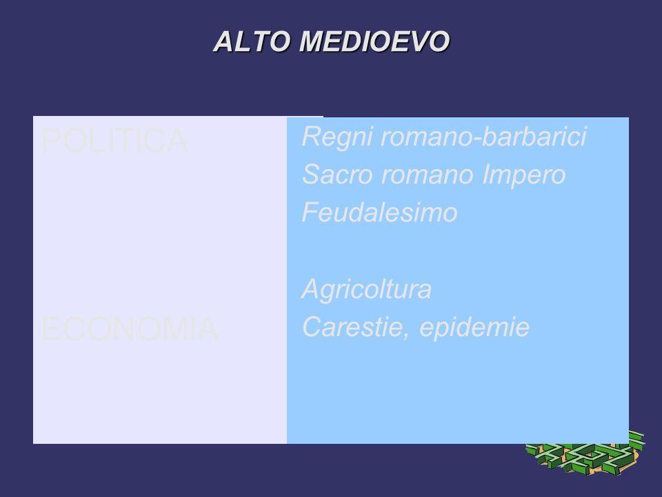 POLITICA ECONOMIA ALTO MEDIOEVO Regni romano-barbarici