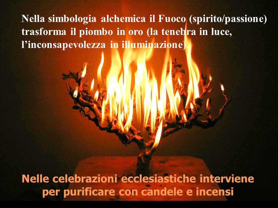 Nella simbologia alchemica il Fuoco (spirito/passione) trasforma il piombo in oro (la tenebra in luce, l'inconsapevolezza in illuminazione).