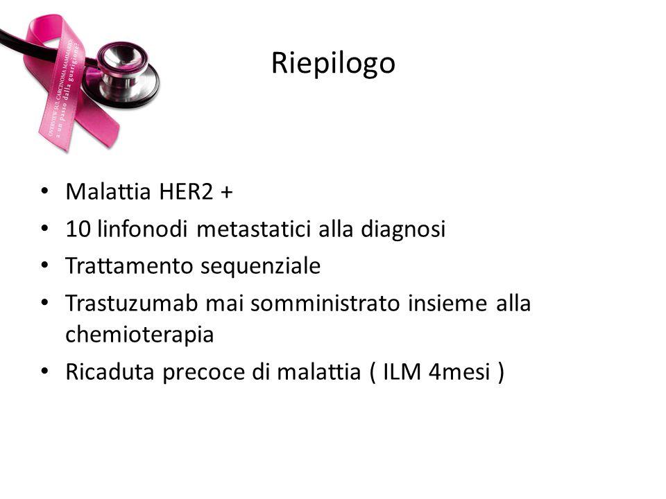 Riepilogo Malattia HER2 + 10 linfonodi metastatici alla diagnosi