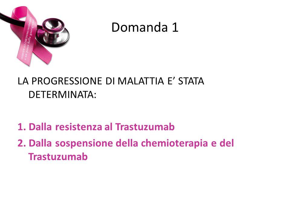 Domanda 1 LA PROGRESSIONE DI MALATTIA E' STATA DETERMINATA: