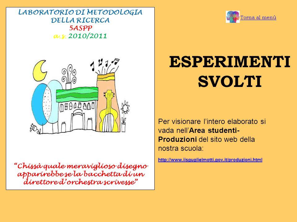LABORATORIO DI METODOLOGIA DELLA RICERCA 5ASPP