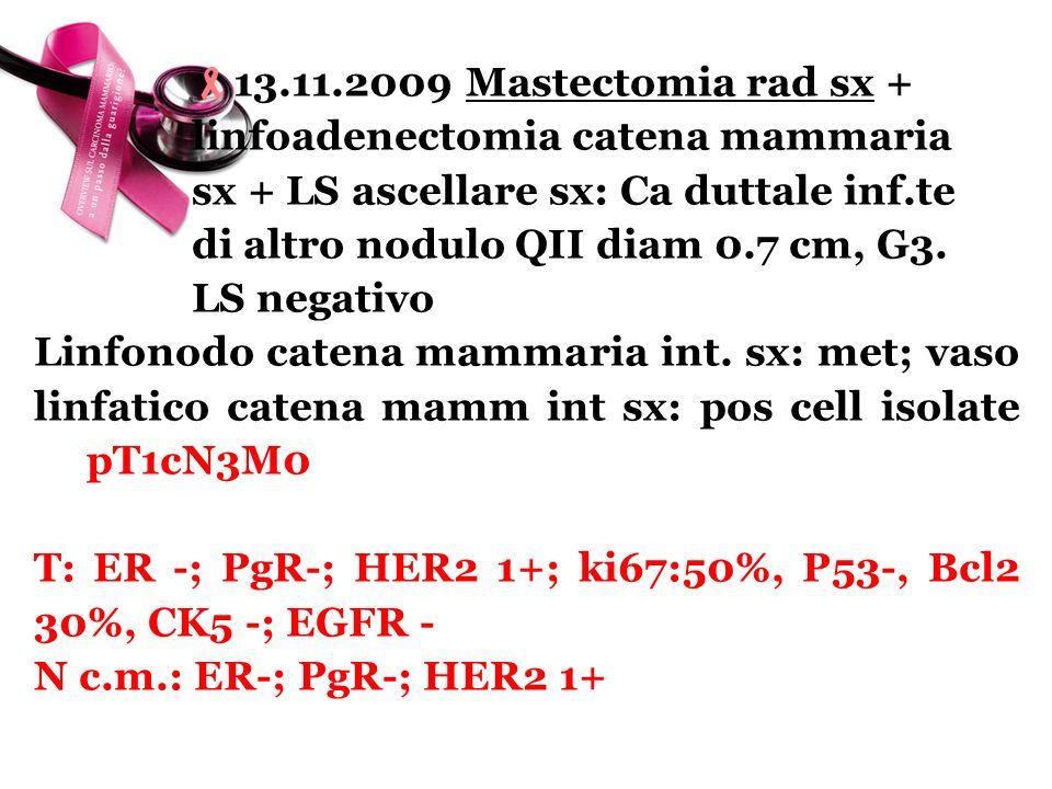 13. 11. 2009 Mastectomia rad sx +. linfoadenectomia catena mammaria