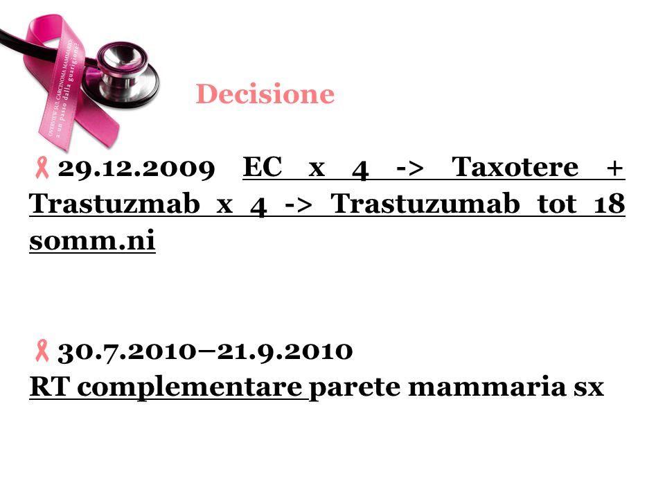 Decisione 29.12.2009 EC x 4 -> Taxotere + Trastuzmab x 4 -> Trastuzumab tot 18 somm.ni. 30.7.2010–21.9.2010.