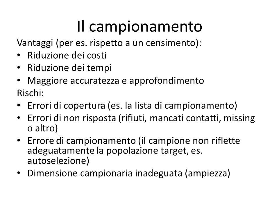 Il campionamento Vantaggi (per es. rispetto a un censimento):