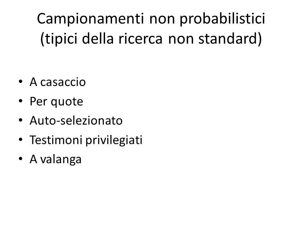 Campionamenti non probabilistici (tipici della ricerca non standard)