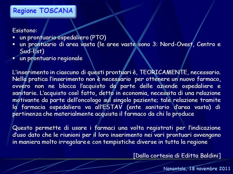 Regione TOSCANA Esistono: un prontuario ospedaliero (PTO)