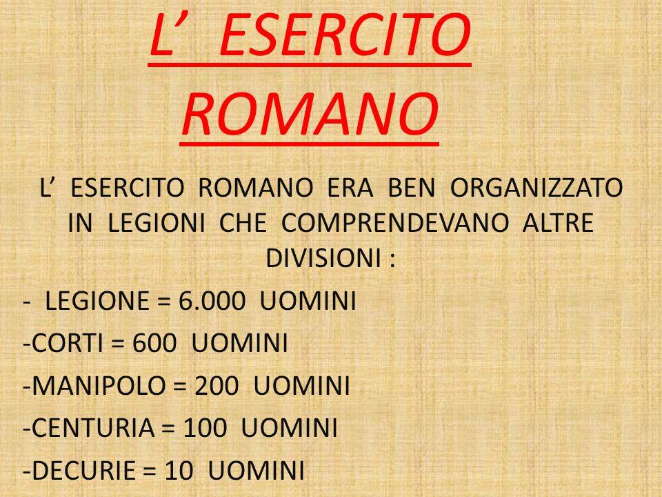 L' ESERCITO ROMANO L' ESERCITO ROMANO ERA BEN ORGANIZZATO IN LEGIONI CHE COMPRENDEVANO ALTRE DIVISIONI :