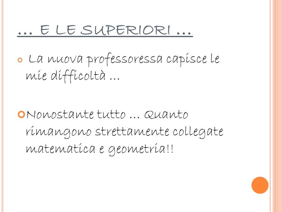 … e le superiori … La nuova professoressa capisce le mie difficoltà …