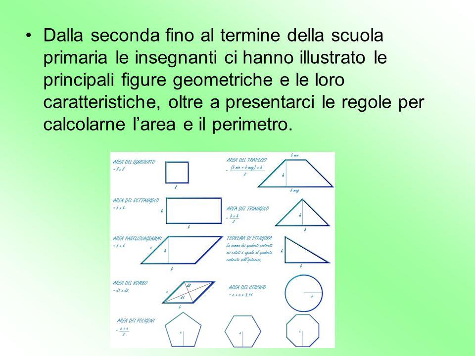 Dalla seconda fino al termine della scuola primaria le insegnanti ci hanno illustrato le principali figure geometriche e le loro caratteristiche, oltre a presentarci le regole per calcolarne l'area e il perimetro.