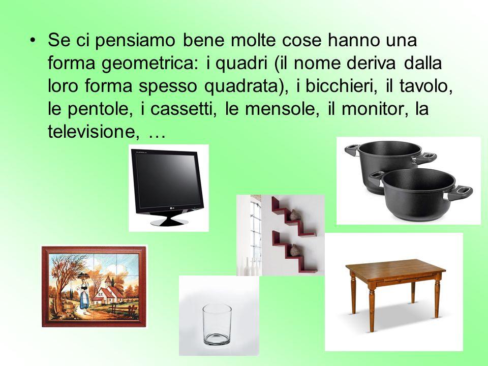 Se ci pensiamo bene molte cose hanno una forma geometrica: i quadri (il nome deriva dalla loro forma spesso quadrata), i bicchieri, il tavolo, le pentole, i cassetti, le mensole, il monitor, la televisione, …