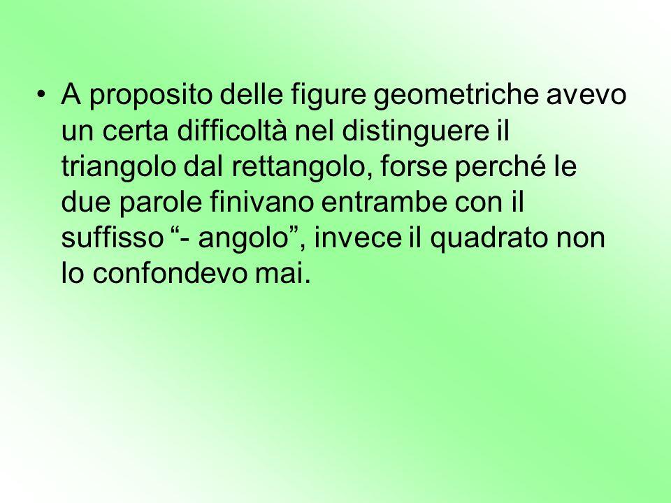A proposito delle figure geometriche avevo un certa difficoltà nel distinguere il triangolo dal rettangolo, forse perché le due parole finivano entrambe con il suffisso - angolo , invece il quadrato non lo confondevo mai.