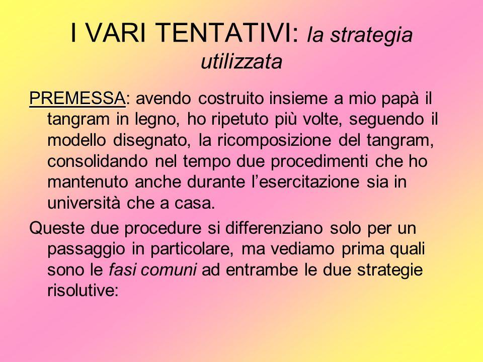 I VARI TENTATIVI: la strategia utilizzata