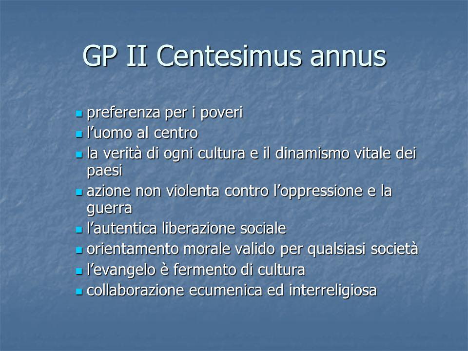 GP II Centesimus annus preferenza per i poveri l'uomo al centro