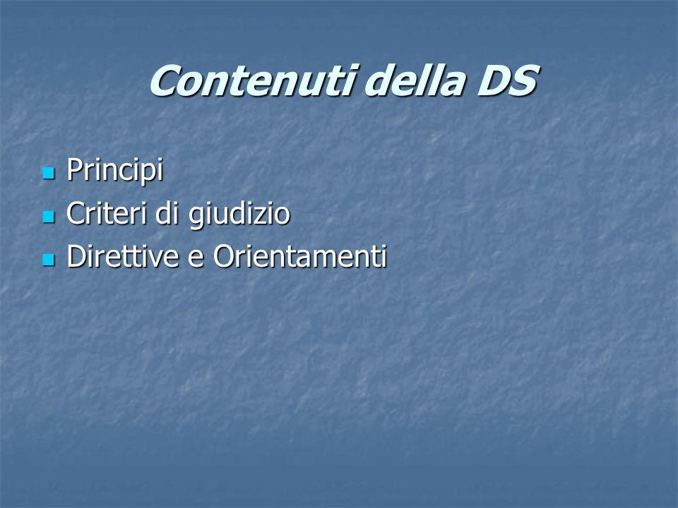 Contenuti della DS Principi Criteri di giudizio