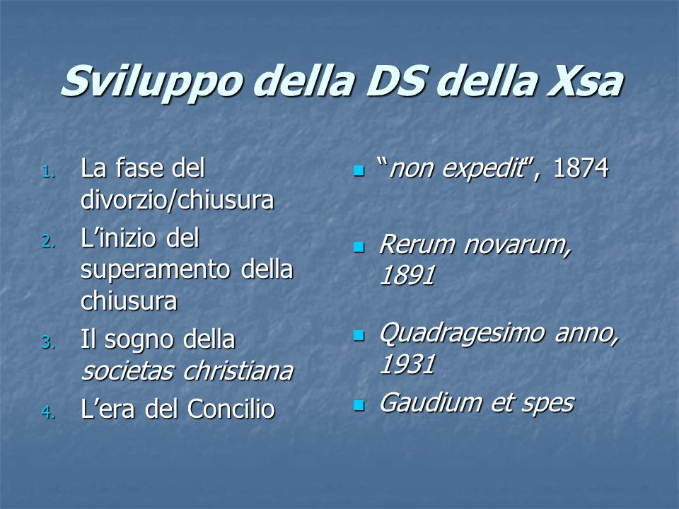 Sviluppo della DS della Xsa