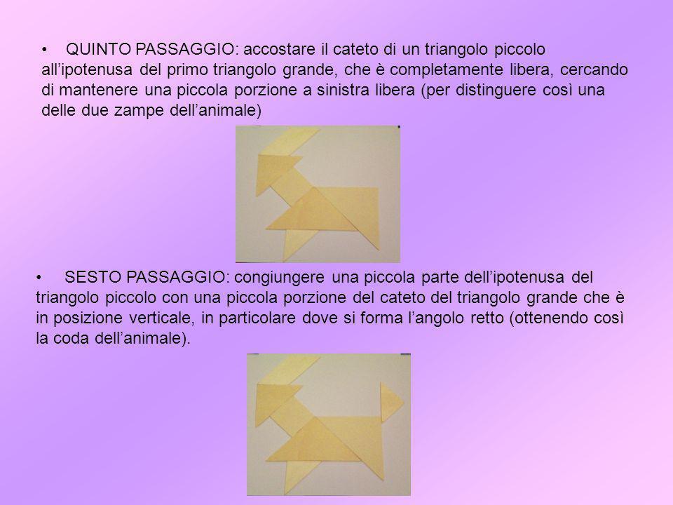 QUINTO PASSAGGIO: accostare il cateto di un triangolo piccolo all'ipotenusa del primo triangolo grande, che è completamente libera, cercando di mantenere una piccola porzione a sinistra libera (per distinguere così una delle due zampe dell'animale)