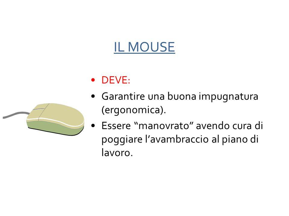IL MOUSE DEVE: Garantire una buona impugnatura (ergonomica).