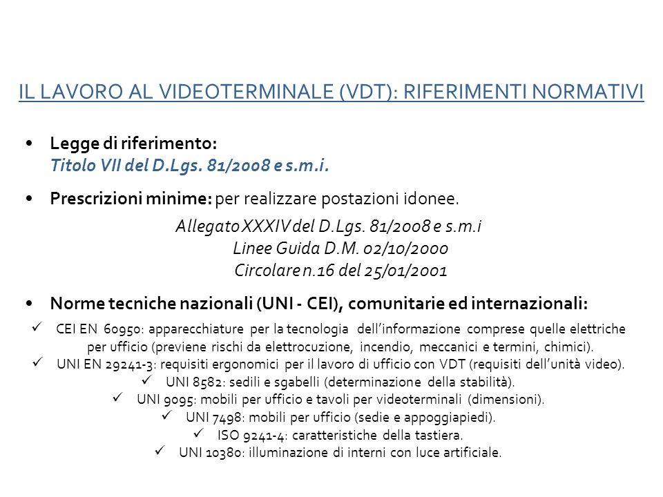 IL LAVORO AL VIDEOTERMINALE (VDT): RIFERIMENTI NORMATIVI
