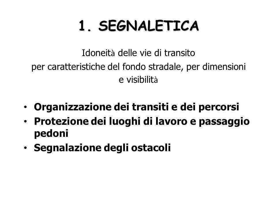 1. SEGNALETICA Organizzazione dei transiti e dei percorsi