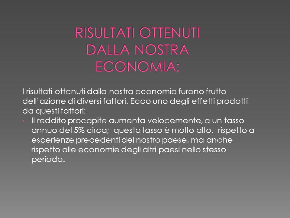 risultati ottenuti dalla nostra economia: