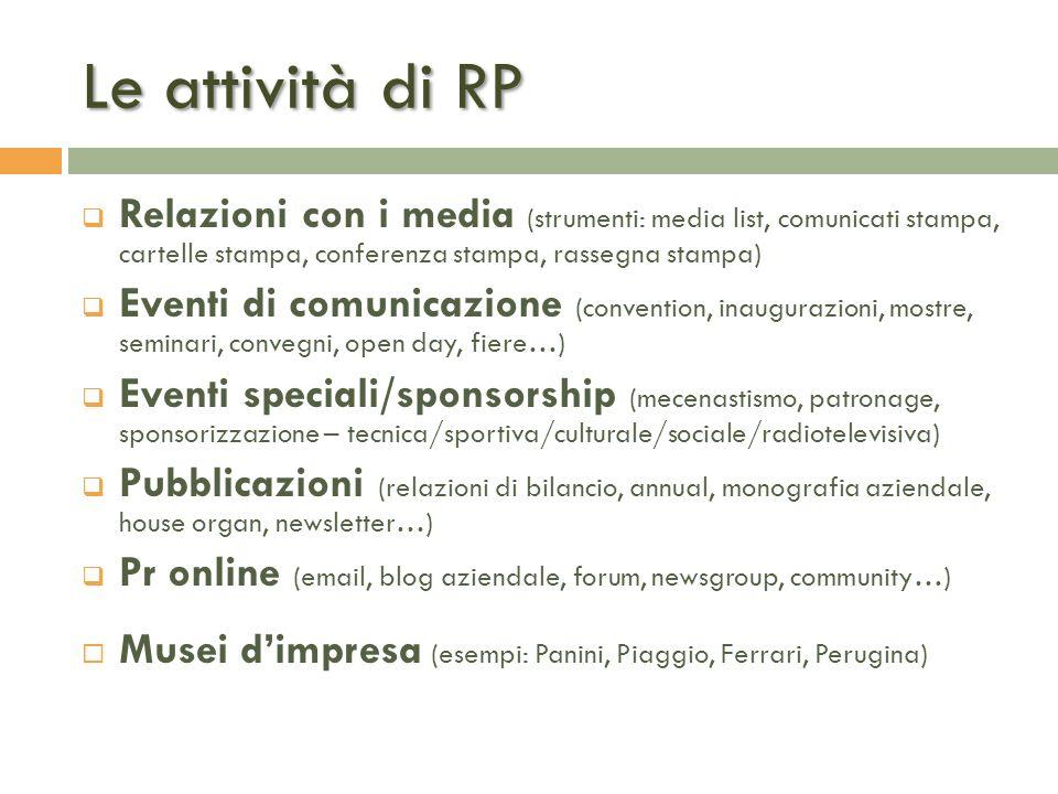 Le attività di RP Relazioni con i media (strumenti: media list, comunicati stampa, cartelle stampa, conferenza stampa, rassegna stampa)