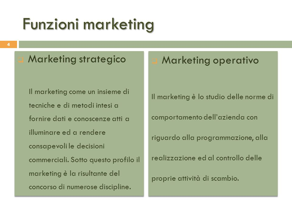 Funzioni marketing Marketing strategico Marketing operativo