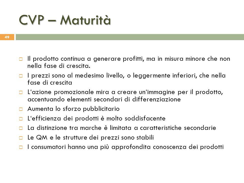 CVP – Maturità Il prodotto continua a generare profitti, ma in misura minore che non nella fase di crescita.