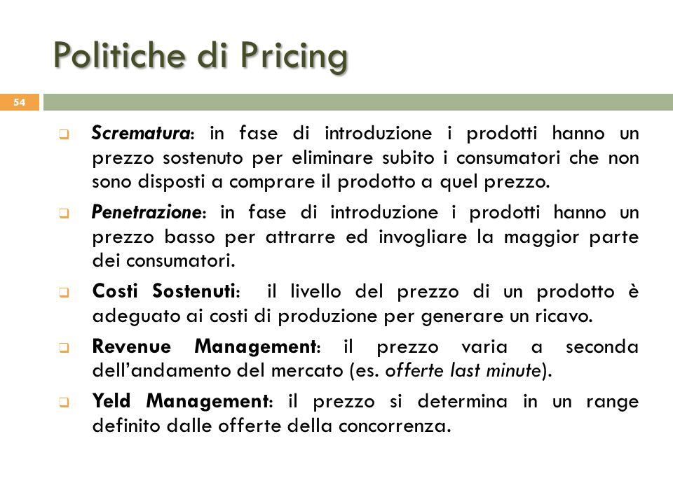 Politiche di Pricing