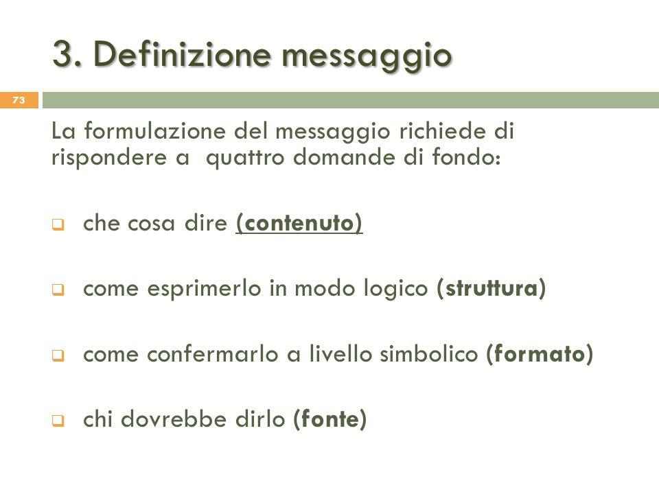 3. Definizione messaggio