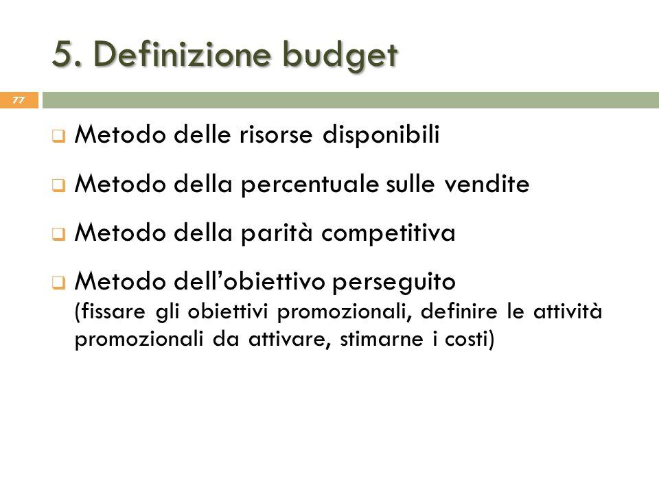 5. Definizione budget Metodo delle risorse disponibili