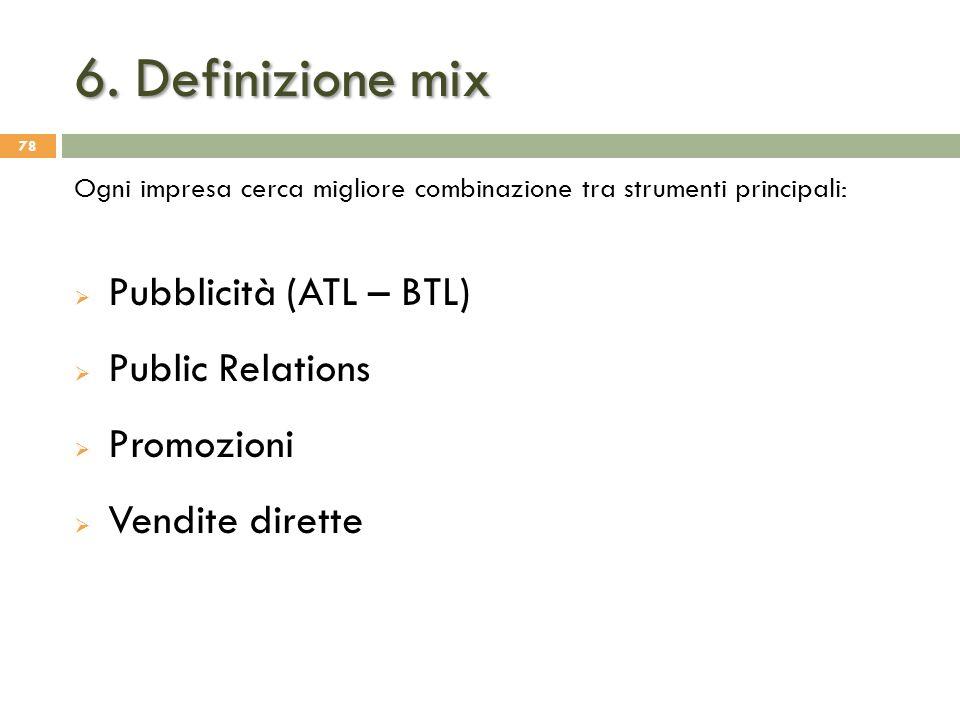 6. Definizione mix Pubblicità (ATL – BTL) Public Relations Promozioni