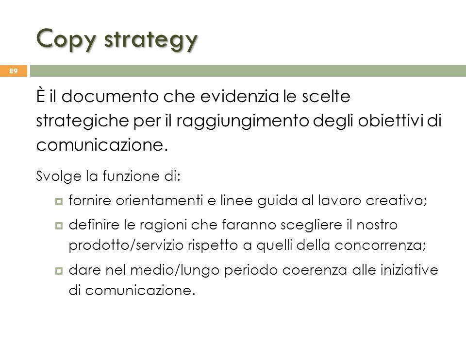 Copy strategy È il documento che evidenzia le scelte strategiche per il raggiungimento degli obiettivi di comunicazione.