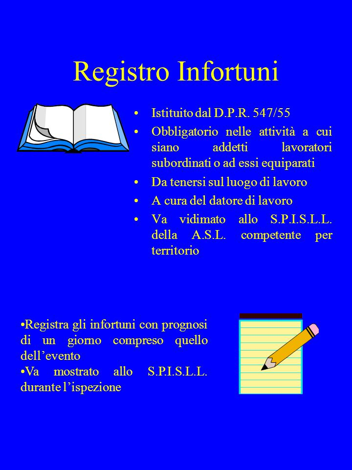 Registro Infortuni Istituito dal D.P.R. 547/55