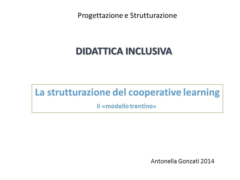 La strutturazione del cooperative learning