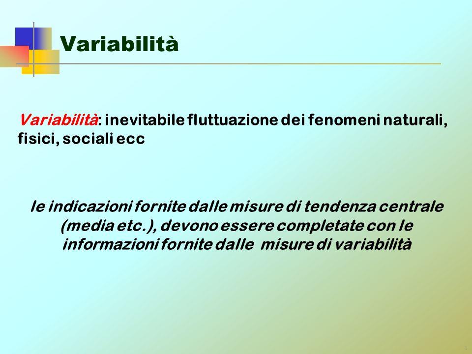 Variabilità Variabilità: inevitabile fluttuazione dei fenomeni naturali, fisici, sociali ecc.
