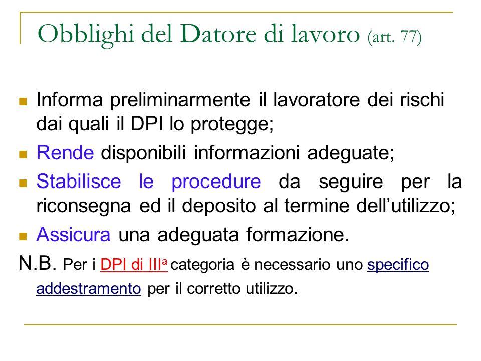 Obblighi del Datore di lavoro (art. 77)
