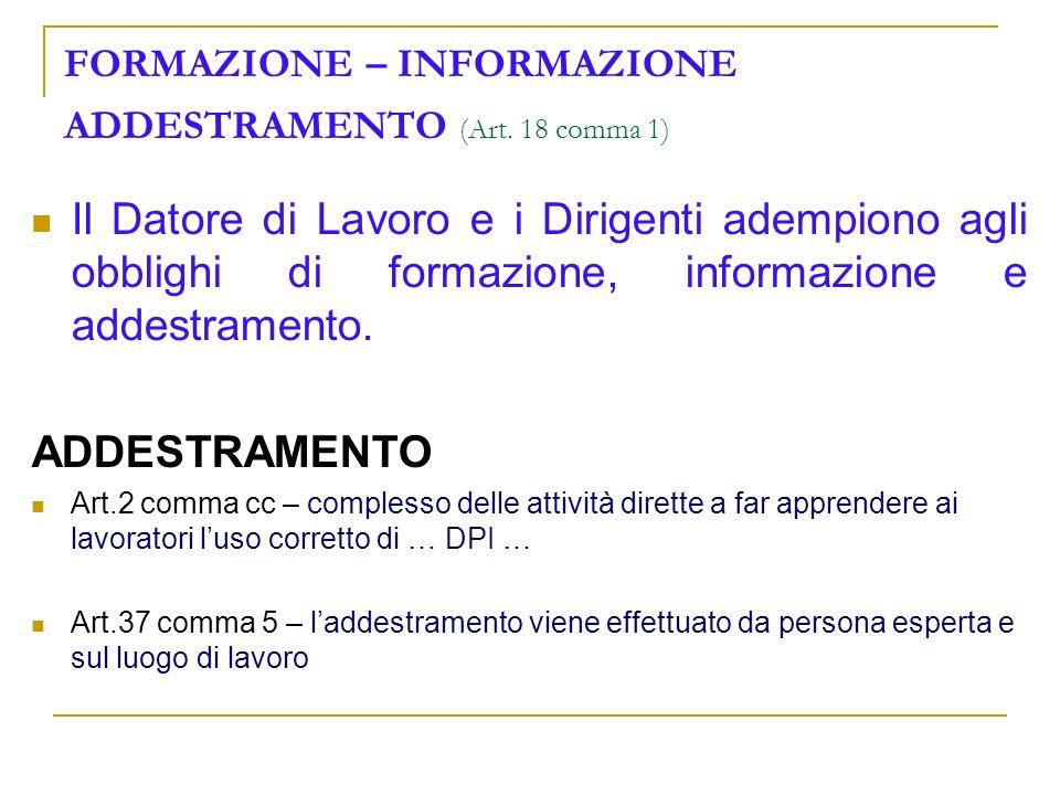 FORMAZIONE – INFORMAZIONE ADDESTRAMENTO (Art. 18 comma 1)