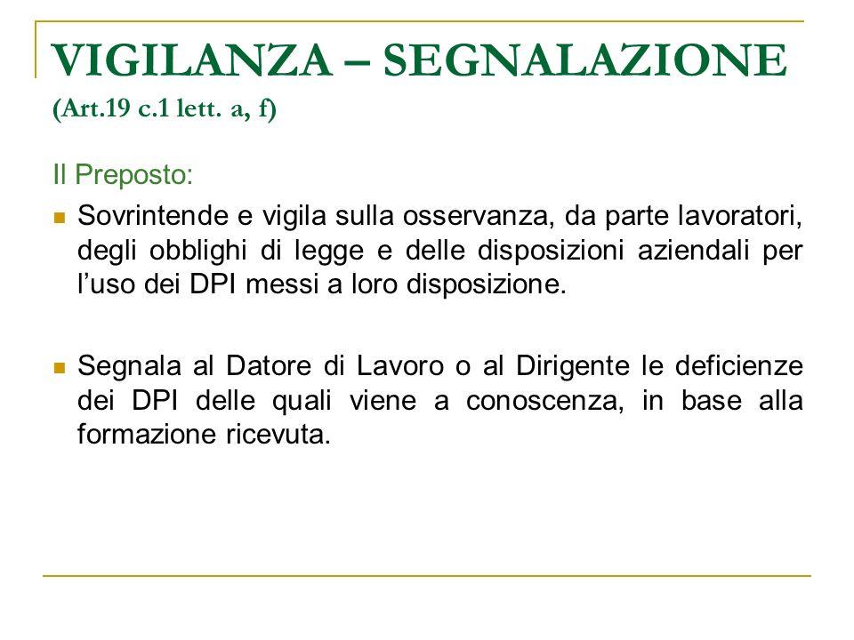 VIGILANZA – SEGNALAZIONE (Art.19 c.1 lett. a, f)