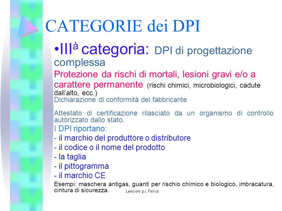 CATEGORIE dei DPI IIIà categoria: DPI di progettazione complessa