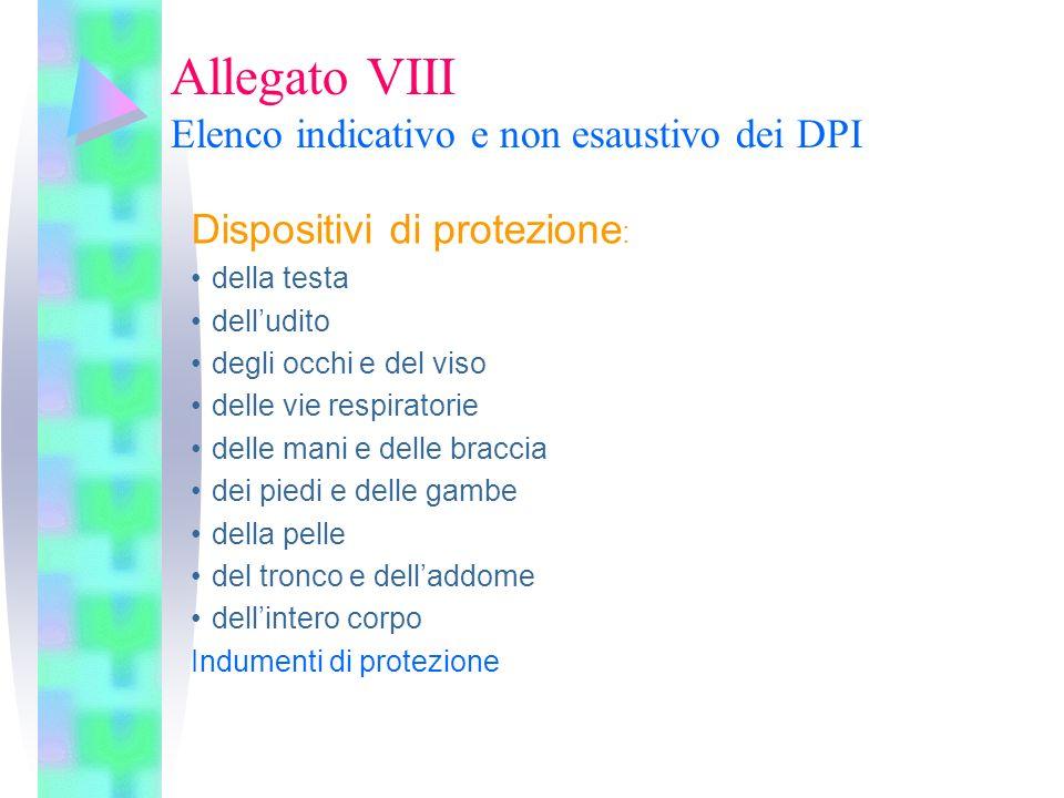 Allegato VIII Elenco indicativo e non esaustivo dei DPI